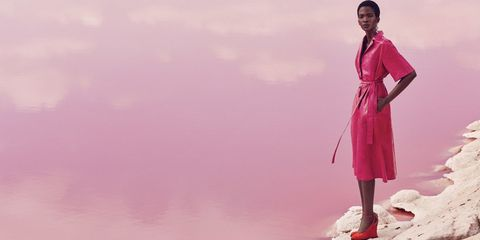 Pink, Magenta, Peach, Day dress, Foot, One-piece garment,