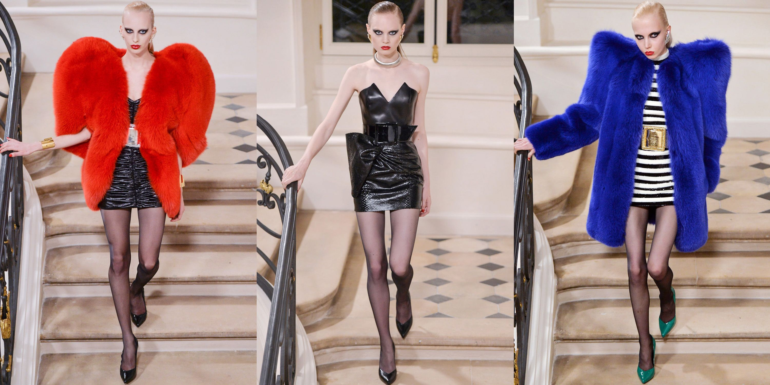 <p>For his final Saint Laurent collection, Hedi Slimane made quite the mark. The designer staged his own couture show for Fall 2016 in Paris at an 18th-century house on the Rue de l'Université. The collection looked to the 1980s couture scene for inspiration, featuring plunging dresses, strong-shouldered silhouettes, triangular earrings and a show-stopping red heart fur coat that became the standout piece of the collection and was later worn by Rihanna. For Slimane, it was the ultimate way to end his four-year tenure at the fashion house with impact. </p>
