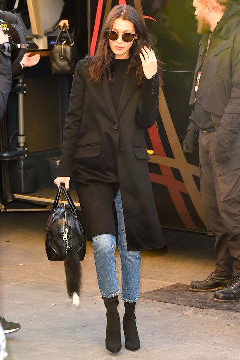 f911edf6bf7c Bella Hadid goes for the glam in embellished Sandro jeans.