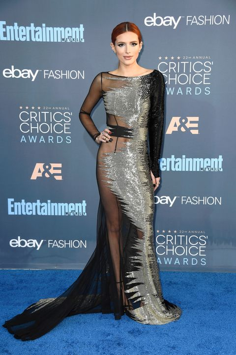 <p>Bella Thorne officially shed her Disney roots after wearing this extremely sexy Alexander McQueen gown, featuring daring sheer panelling.</p>