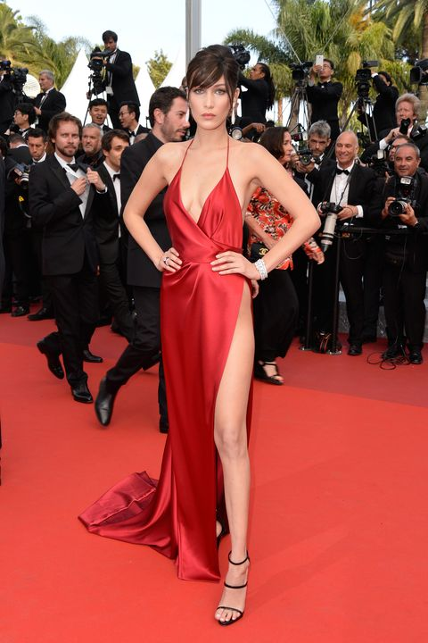 <p>The Alexandre Vauthier red satin dress that Bella Hadid wore for the 2016 Cannes Film Festival will go down in history. The ensemble featured a built-in bodysuit to ensure that nothing slipped out.</p>