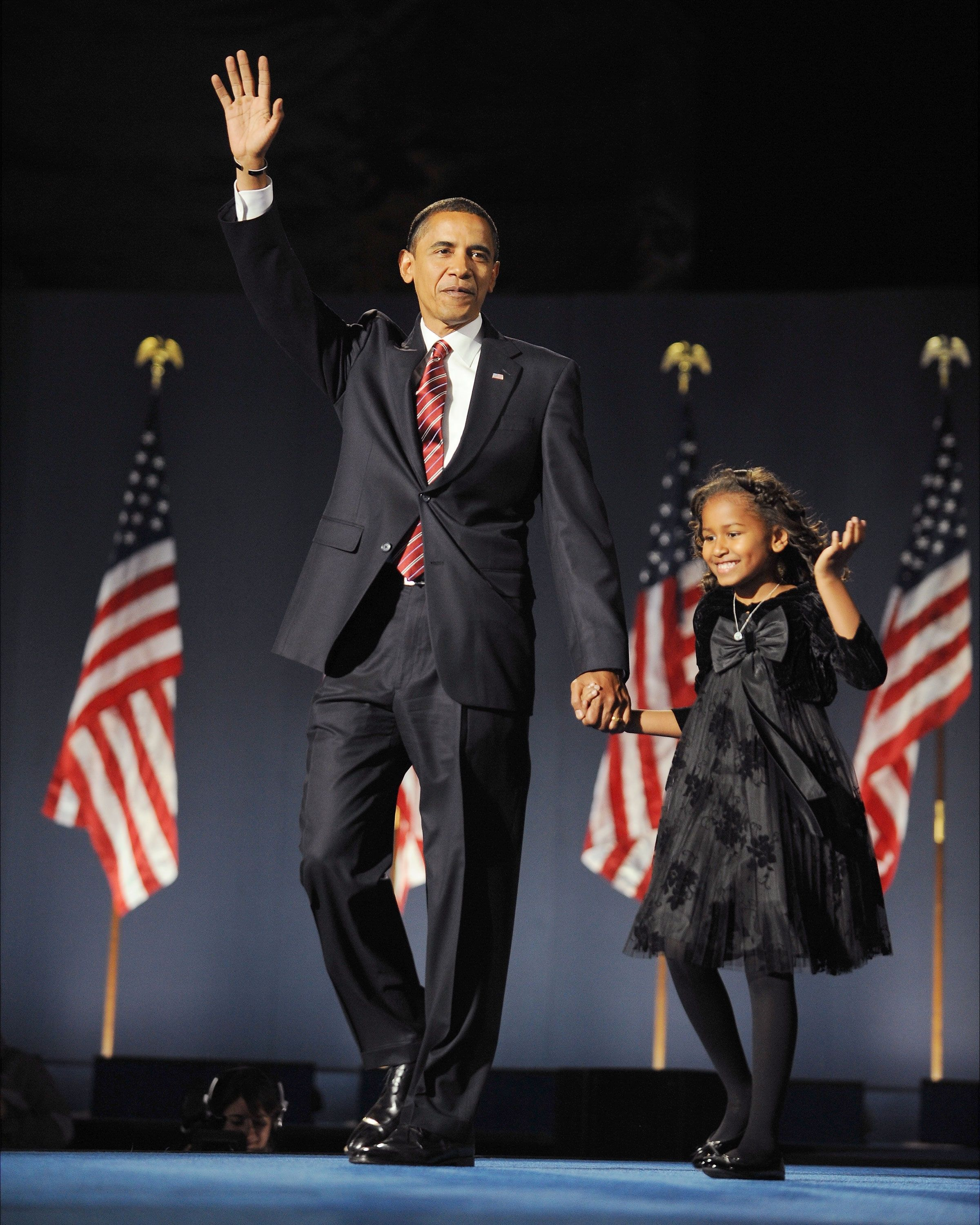 <p>President-elect Obama and Sasha on election night in Chicago.  (Ron Antonelli/NY Daily News Archive via Getty Images)</p>