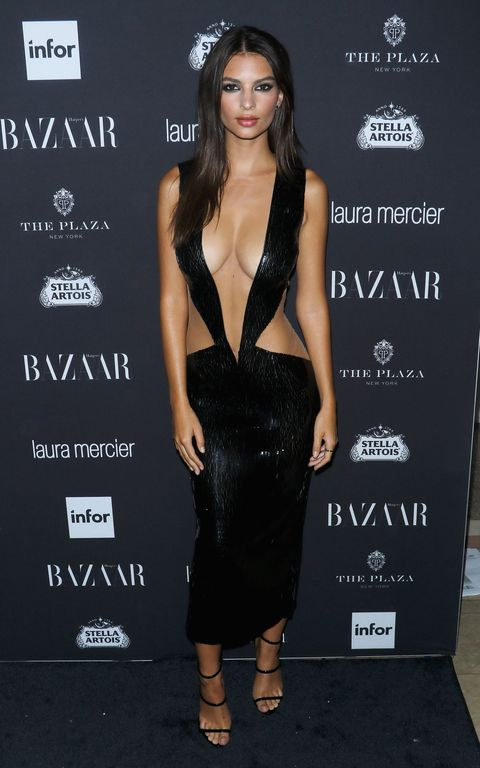 """<p>Emily Ratajkowski's gravity-defying Julien Macdonald dress understandably attracted interest at the <a href=""""http://www.harpersbazaar.co.uk/fashion/style-files/news/g37108/carine-roitfeld-harpers-bazaar-icon-party-2016/"""" target=""""_blank"""" data-tracking-id=""""recirc-text-link"""">US <em data-redactor-tag=""""em"""" data-verified=""""redactor"""">Harper's Bazaar </em>Icons party</a> this September.</p>"""