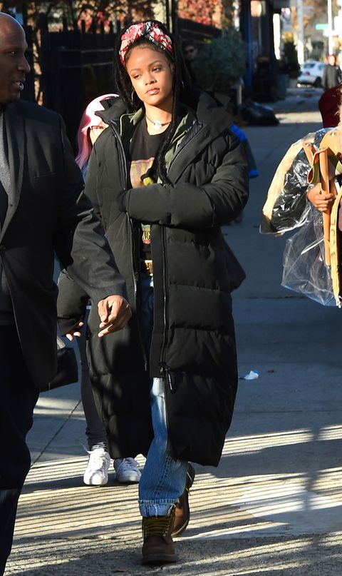 97ec4767292 <p>Rihanna wore this long puffer in between filming scenes for<em data
