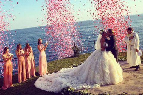 "<p><strong data-redactor-tag=""strong"" data-verified=""redactor"">June 2016</strong> Giovanna Battaglia <a href=""http://www.harpersbazaar.com/wedding/bridal-fashion/news/a16068/giovanna-battaglia-oscar-englebert-wedding/"" target=""_blank"" data-tracking-id=""recirc-text-link"">married</a> Swedish realtor Oscar Englebert on a hilltop ceremony in Capri wearing a custom Alexander McQueen corset dress.</p>"