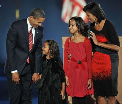 <p>President-elect Barack Obama and his family arrive on stage for his election night victory rally at Grant Park on Nov. 4, 2008, in Chicago. (Stan Honda/AFP/Getty Images)</p>