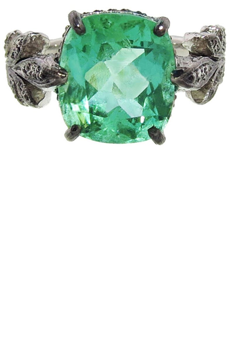 gold rings and diamond green ring emerald in accent three v stone round p