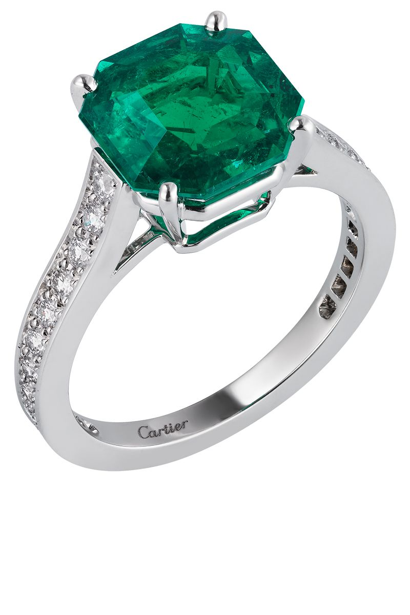 ring shop rings cut halo gemstone octagon diamond stone emerald product by trapeze