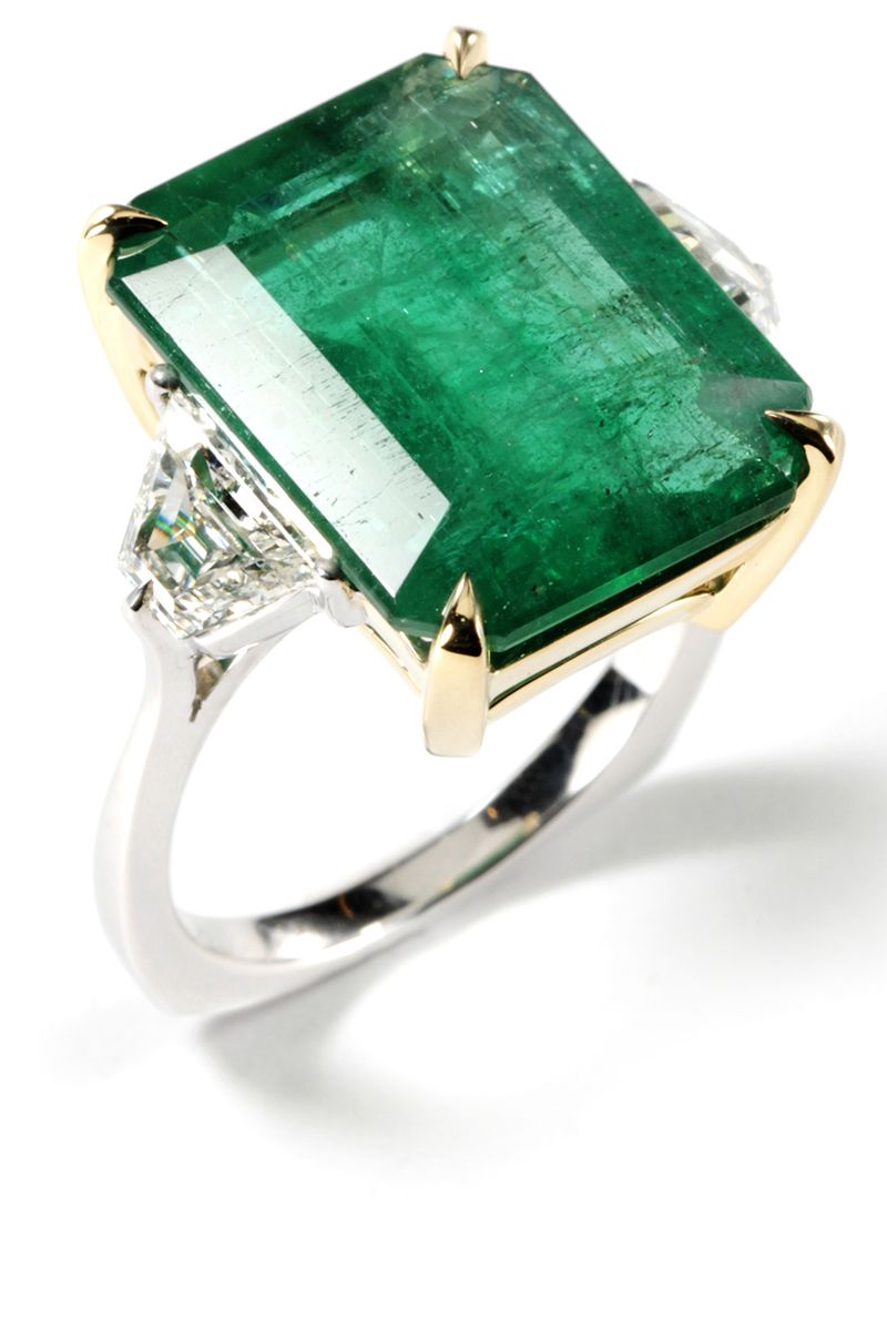 with center and in shank pave three oval ring silhouette uneek stone emerald green platinum rings