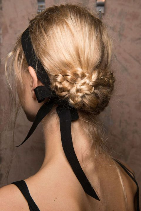<p>The only thing prettier than the braided bun at Erdem's spring 2017 show was the way the black ribbon was tied like an askew headband. </p>