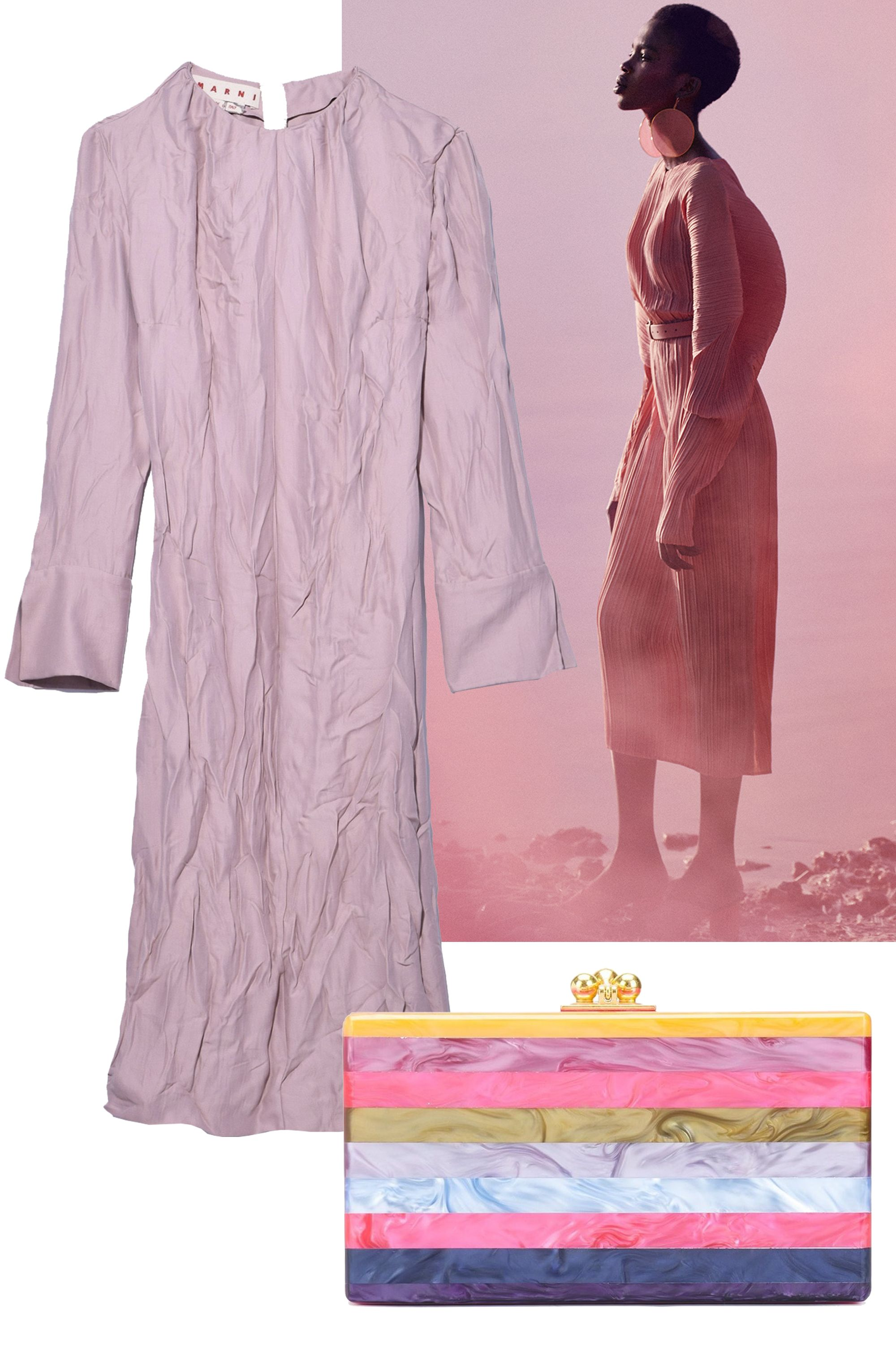 "<p>Channel your inner Parisian girl with an easy frock and chic clutch that's simply effortless. </p><p><em data-verified=""redactor"" data-redactor-tag=""em"">Marni dress, $1,580 , <a href=""https://shop.harpersbazaar.com/designers/marni/long-sleeve-dress-in-rose-powder-11183.html"" data-tracking-id=""recirc-text-link"">shopBAZAAR.com</a>; Edie Parker clutch, $1,295, <a href=""https://shop.harpersbazaar.com/designers/edie-parker/jean-striped-clutch-11192.html"" data-tracking-id=""recirc-text-link"">shopBAZAAR.com</a>.</em><br></p>"