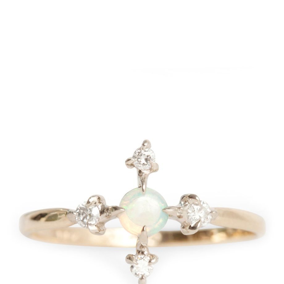 Engagement ring with opals