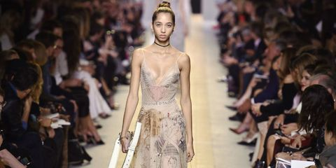 Fashion show, Hairstyle, Runway, Fashion model, Style, Dress, Fashion, Model, Waist, Beauty,