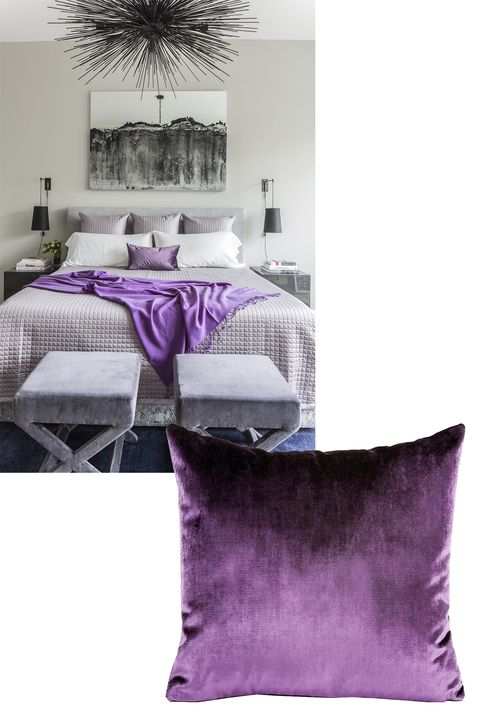 """<p>""""I love color, especially saturated and jewel-tone hues, which can sometimes feel overwhelming as a permanent statement. A great way to experiment with a new palette or brighten up a space is to add colorful throw pillows and blankets. Consider the undertones of the room palette and work from there. This chic grey-scale space had a hint of lavender grey, making purple a perfect option. Yves Delorme sells amazing (and affordable) velvet/linen rectangle and square pillows in a rainbow of options."""" <span class=""""redactor-invisible-space"""" data-verified=""""redactor"""" data-redactor-tag=""""span"""" data-redactor-class=""""redactor-invisible-space""""></span></p><p> <em data-redactor-tag=""""em"""" data-verified=""""redactor""""><span class=""""NoneA"""" data-redactor-tag=""""span"""" data-redactor-class=""""NoneA"""" data-verified=""""redactor"""">Y</span><span class=""""None"""" data-redactor-tag=""""span"""" data-redactor-class=""""None"""" data-verified=""""redactor"""">ves </span><span class=""""NoneA"""" data-redactor-tag=""""span"""" data-redactor-class=""""NoneA"""" data-verified=""""redactor"""">Delorme pillows, $95-$100, <a href=""""http://usa.yvesdelorme.com/p/c/housse-de-coussin-rectangle-berlingot-4.html"""" target=""""_blank"""" data-tracking-id=""""recirc-text-link"""">yvesdelorme.com</a>.</span></em><br></p>"""