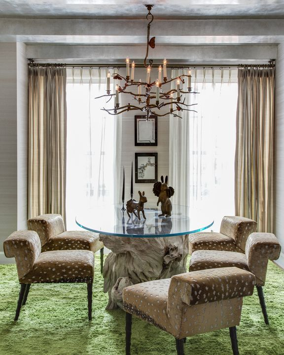 """<p>""""I am seeing a trend towards playful dining areas for a more casual and warm entertaining environment. I created a livelypicnic vibe in this elegant dining room by adding a green silk shag rug as a pastoral reference. Take a chance with a colorful carpet and freshen up a space where guests are meant to have fun.""""<span class=""""redactor-invisible-space"""" data-verified=""""redactor"""" data-redactor-tag=""""span"""" data-redactor-class=""""redactor-invisible-space""""></span></p><p><span class=""""redactor-invisible-space"""" data-verified=""""redactor"""" data-redactor-tag=""""span"""" data-redactor-class=""""redactor-invisible-space""""><em data-redactor-tag=""""em"""" data-verified=""""redactor"""">CB2 rug, $299-$599, <a href=""""http://www.cb2.com/ombre-teal-rug/f12523"""" target=""""_blank"""" data-tracking-id=""""recirc-text-link"""">cb2.com</a>.</em></span></p>"""