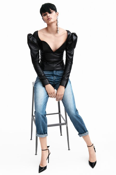 "<p>Hit a Parisian note with a dramatic blouse&nbsp;in a luxe fabric.&nbsp;</p><p><strong data-redactor-tag=""strong"" data-verified=""redactor"">Saint Laurent&nbsp;</strong><span class=""redactor-invisible-space"">top, $3,490,&nbsp;jeans, $690, earrings, $695, ear cuffs, $395-$1,195, and shoes, $995, 212-980-2970.<span class=""redactor-invisible-space""></span></span></p>"