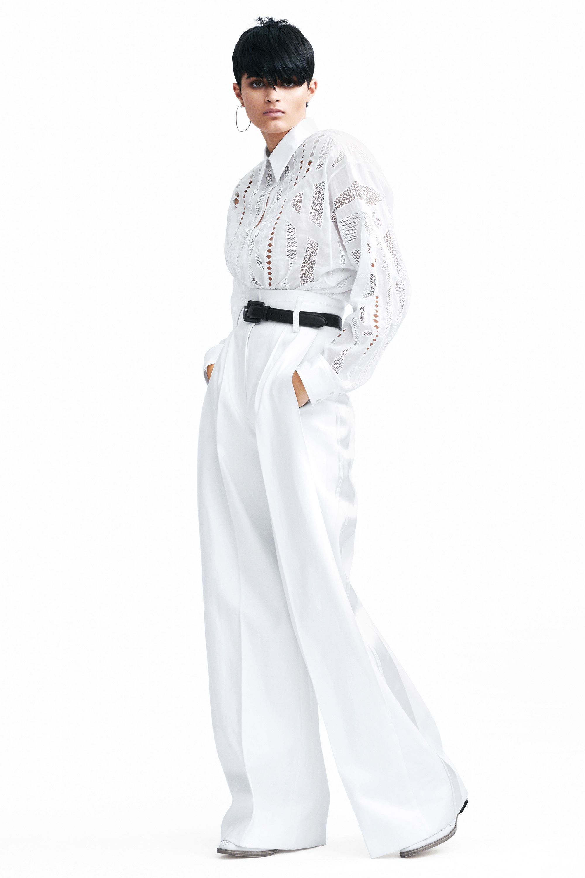 """<p>Keep it simple in a louche all-white look<span class=""""redactor-invisible-space"""">.</span></p><p><span class=""""redactor-invisible-space""""><strong data-redactor-tag=""""strong"""" data-verified=""""redactor"""">Hermès</strong> shirt, $12,600, pants, $2,950, and shoes, $1,900, <a href=""""http://www.hermes.com/index_us.html"""" target=""""_blank"""" data-tracking-id=""""recirc-text-link"""">hermes.com</a><span class=""""redactor-invisible-space"""">;</span><strong data-redactor-tag=""""strong"""" data-verified=""""redactor"""">Delfina Delettrez</strong> earrings, $1,550, <a href=""""http://www.matchesfashion.com/womens"""" target=""""_blank"""" data-tracking-id=""""recirc-text-link"""">matchesfashion.com</a>; <strong data-redactor-tag=""""strong"""" data-verified=""""redactor"""">Ralph Lauren Collection</strong> belt, $295, <a href=""""http://www.ralphlauren.com/home/index.jsp?ab=Geo_iUS_rUS_dUS"""" target=""""_blank"""" data-tracking-id=""""recirc-text-link"""">ralphlauren.com</a>.</span></p><p><span class=""""redactor-invisible-space""""><strong data-redactor-tag=""""strong"""" data-verified=""""redactor"""">BEAUTY BAZAAR: </strong><a href=""""https://www.walgreens.com/store/c/pantene-pro-v-smooth-and-sleek-3-minute-miracle-deep-conditioner/ID=prod6306759-product?ext=gooPLA_-_Beauty&pla&adtype=pla&kpid=sku6259382&sst=d75bf2f6-5663-4c46-909d-e82c609fcf16"""" target=""""_blank"""" data-tracking-id=""""recirc-text-link"""">Pantene 3 Minute Miracle Smooth & Sleek Deep Conditioner</a> leaves hair super lustrous ($4).<span class=""""redactor-invisible-space""""></span><br></span></p>"""