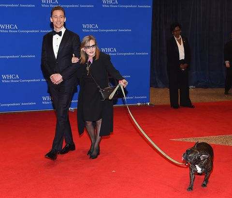 Tom Hiddleston and Carrie Fisher at the White House Correspondents' Association Dinner