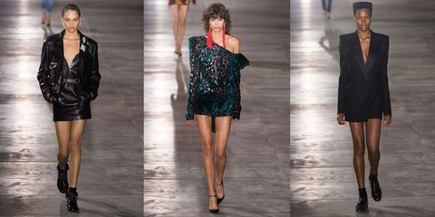 <p>There&nbsp;is no doubt that the '80s are back—and while we'll be skipping neon looks—we're fully&nbsp;on board for Saint Laurent's strong shouldered jackets, off the shoulder dresses and mini leathers.&nbsp;</p>