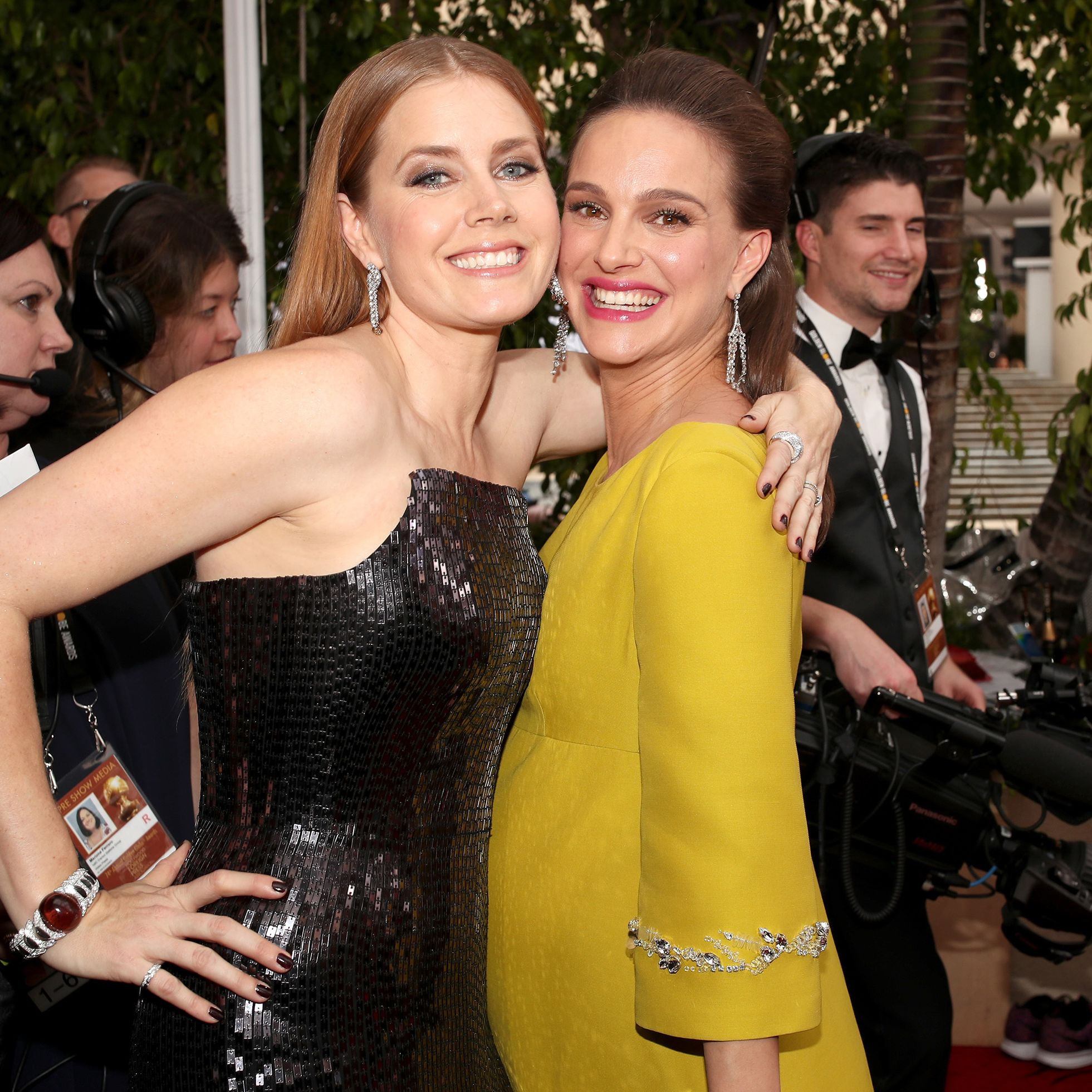BEVERLY HILLS, CA - JANUARY 08:  74th ANNUAL GOLDEN GLOBE AWARDS -- Pictured:  Actors Amy Adams and Natalie Portman arrive to the 74th Annual Golden Globe Awards held at the Beverly Hilton Hotel on January 8, 2017.  (Photo by Christopher Polk/NBC/NBCU Photo Bank via Getty Images)