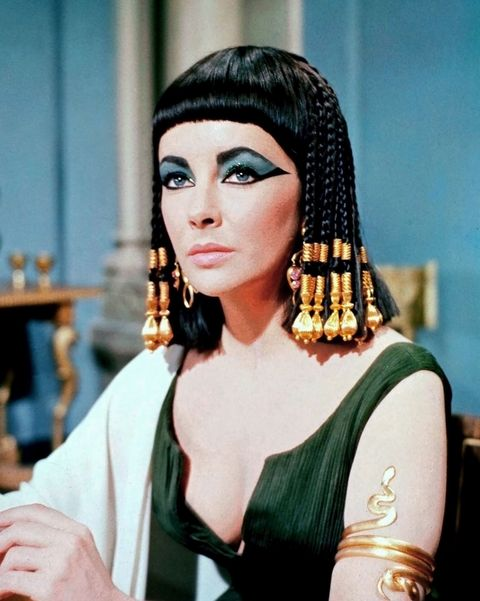 The hair might be second fiddle to the makeup in Cleopatra, but it's truly just as incredible. Gilded with beads or covered in elaborate headpieces, Elizabeth Taylor wore the dramatic styles with regal ease.