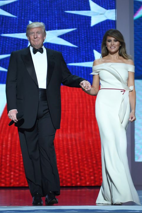 Melania Trump Wears White Hervé Pierre Dress to Inauguration Ball ...