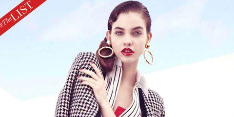 Ear, Lip, Hairstyle, Earrings, Eyebrow, Eyelash, Style, Fashion accessory, Jaw, Jewellery,