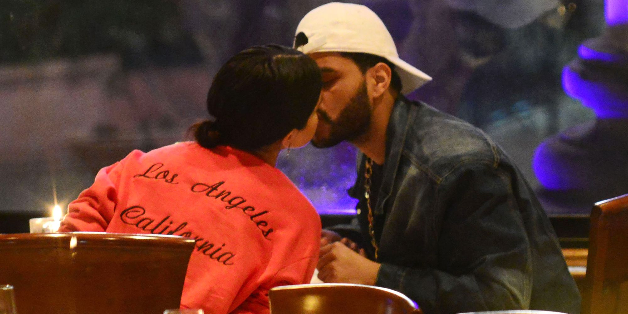 Image result for selena and weeknd kissing first pic
