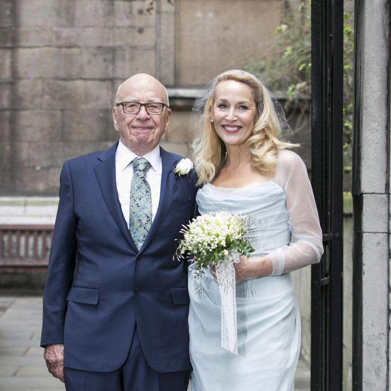 """<p>Marrying Rupert Murdoch in 2016. <a href=""""http://www.marieclaire.com/celebrity/a19051/rupert-murdoch-jerry-hall-wedding/"""" target=""""_blank"""" data-tracking-id=""""recirc-text-link"""">Blue was clearly the theme</a>.</p>"""