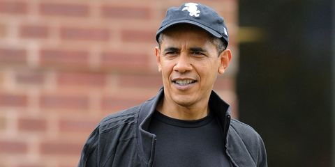 Barack Obama Is Chilling Out And Wearing His Hat Backwards