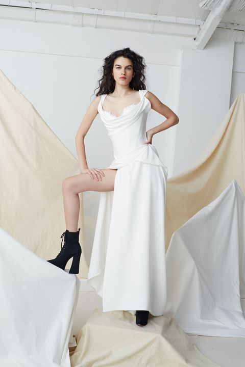Clothing, Dress, Shoulder, Textile, White, Style, Formal wear, Bridal clothing, Gown, Fashion model,