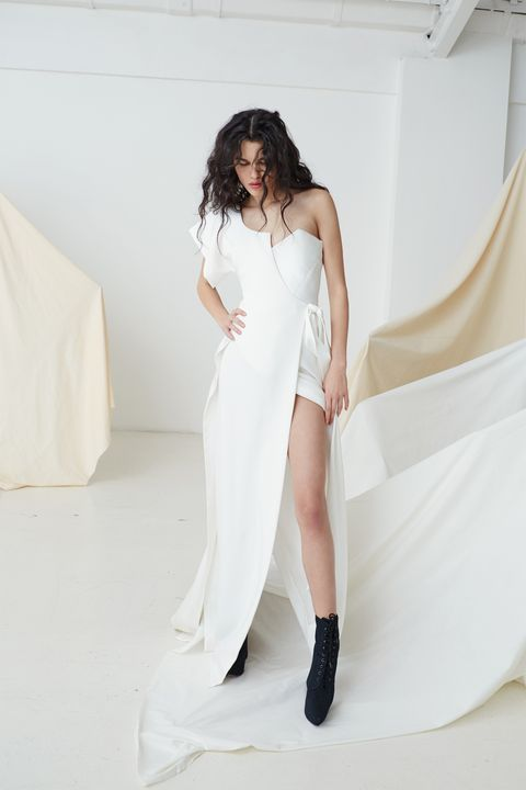 Clothing, Shoulder, Dress, Textile, Shoe, Joint, White, Formal wear, Style, Fashion model,