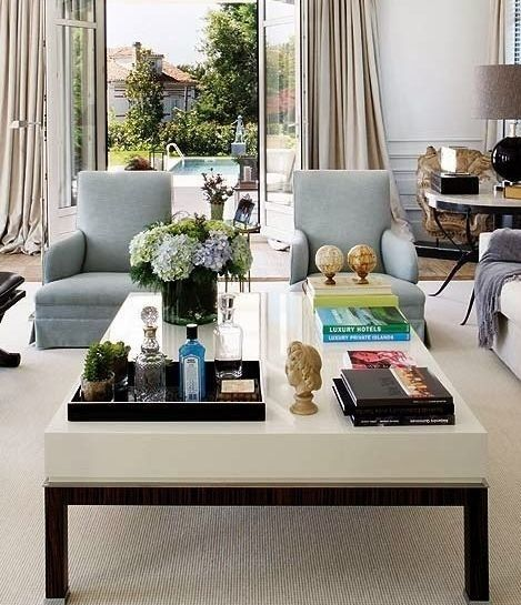 <p>Obviously, this only works if you're dealing with an ample-sized coffee table. But if so, why not designate a tray for a select stash of your prettiest barware and cocktail ingredients?</p>