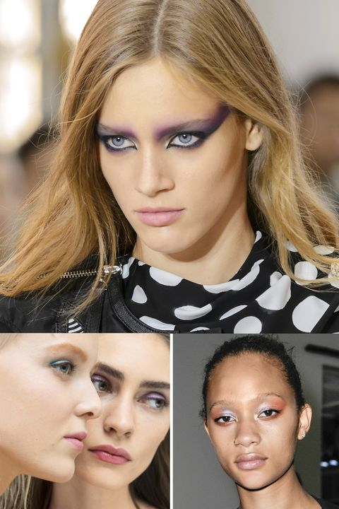"<p>If you're daring, replicate makeup artist Pat McGrath's '80s-inspired eyes for Louis Vuitton. Or wear a single shade swept over your lids, as seen at Nina Ricci. Tip: For darker skin tones, McGrath recommends staying away from formulas containing talc, which can appear ashy. Apply a few coats of volumizing mascara for day; add a swipe of black liner along lash lines for night.<span class=""redactor-invisible-space"" data-verified=""redactor"" data-redactor-tag=""span"" data-redactor-class=""redactor-invisible-space""></span></p>"