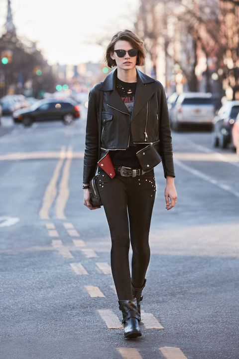 "<p><strong data-redactor-tag=""strong"" data-verified=""redactor"">Her Go-To Uniform:</strong> ""I wear a lot of black basics when I'm&nbsp;running around to castings and meetings, and lots of flat boots. A good jacket&nbsp;is also a staple, and leather is a go-to!""</p><p><br></p><p><span class=""redactor-invisible-space"" data-verified=""redactor"" data-redactor-tag=""span"" data-redactor-class=""redactor-invisible-space""></span></p><p><span class=""redactor-invisible-space"" data-verified=""redactor"" data-redactor-tag=""span"" data-redactor-class=""redactor-invisible-space""><em data-redactor-tag=""em"" data-verified=""redactor"">Belstaff leather jacket, similar style at <a href=""http://shop.nordstrom.com/s/belstaff-burnett-leather-moto-jacket/4514109?origin=category-"" target=""_blank"" data-tracking-id=""recirc-text-link"">nordstrom.com</a>; Topshop t-shirt, $50, <a href=""http://us.topshop.com/en/tsus/product/tall-metallica-nibble-t-shirt-by-and-finally-6171522?bi=0&amp;ps=20&amp;Ntt=graphic%20t-shirt"" target=""_blank"" data-tracking-id=""recirc-text-link"">topshop.com</a>; Frame jeans, $209, <a href=""http://shop.nordstrom.com/s/frame-forever-karlie-skinny-jeans-film-noir/4244206?origin=keywordsearch-personalizedsort&amp;fashioncolor=FILM%20NOIR"" target=""_blank"" data-tracking-id=""recirc-text-link"">nordstrom.com</a>; Stuart Weitzman boots, $535, <a href=""http://shop.nordstrom.com/s/stuart-weitzman-milano-chelsea-boot-women/4448949?origin=category-personalizedsort&amp;fashioncolor=BLACK%20VECCHIO"" target=""_blank"" data-tracking-id=""recirc-text-link"">nordstrom.com</a>; Alexander Wang bag, $495, <a href=""http://shop.nordstrom.com/s/alexander-wang-biker-leather-crossbody-wallet/4579672?origin=category-"" target=""_blank"" data-tracking-id=""recirc-text-link"">nordstrom.com</a>; Belt, models own; Ray Ban sunglasses, $150, <a href=""http://shop.nordstrom.com/s/ray-ban-highstreet-57mm-sunglasses/3340892?origin=keywordsearch-personalizedsort&amp;fashioncolor=DEMI%20BLACK%2F%20GREEN%20SOLID"" target=""_blank"" data-tracking-id=""recirc-text-link"">nordstrom.com</a>.&nbsp;</em></span></p>"