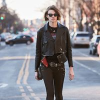 """<p><strong data-redactor-tag=""""strong"""" data-verified=""""redactor"""">Her Go-To Uniform:</strong> """"I wear a lot of black basics when I'm&nbsp&#x3B;running around to castings and meetings, and lots of flat boots. A good jacket&nbsp&#x3B;is also a staple, and leather is a go-to!""""</p><p><br></p><p><span class=""""redactor-invisible-space"""" data-verified=""""redactor"""" data-redactor-tag=""""span"""" data-redactor-class=""""redactor-invisible-space""""></span></p><p><span class=""""redactor-invisible-space"""" data-verified=""""redactor"""" data-redactor-tag=""""span"""" data-redactor-class=""""redactor-invisible-space""""><em data-redactor-tag=""""em"""" data-verified=""""redactor"""">Belstaff leather jacket, similar style at <a href=""""http://shop.nordstrom.com/s/belstaff-burnett-leather-moto-jacket/4514109?origin=category-"""" target=""""_blank"""" data-tracking-id=""""recirc-text-link"""">nordstrom.com</a>&#x3B; Topshop t-shirt, $50, <a href=""""http://us.topshop.com/en/tsus/product/tall-metallica-nibble-t-shirt-by-and-finally-6171522?bi=0&amp&#x3B;ps=20&amp&#x3B;Ntt=graphic%20t-shirt"""" target=""""_blank"""" data-tracking-id=""""recirc-text-link"""">topshop.com</a>&#x3B; Frame jeans, $209, <a href=""""http://shop.nordstrom.com/s/frame-forever-karlie-skinny-jeans-film-noir/4244206?origin=keywordsearch-personalizedsort&amp&#x3B;fashioncolor=FILM%20NOIR"""" target=""""_blank"""" data-tracking-id=""""recirc-text-link"""">nordstrom.com</a>&#x3B; Stuart Weitzman boots, $535, <a href=""""http://shop.nordstrom.com/s/stuart-weitzman-milano-chelsea-boot-women/4448949?origin=category-personalizedsort&amp&#x3B;fashioncolor=BLACK%20VECCHIO"""" target=""""_blank"""" data-tracking-id=""""recirc-text-link"""">nordstrom.com</a>&#x3B; Alexander Wang bag, $495, <a href=""""http://shop.nordstrom.com/s/alexander-wang-biker-leather-crossbody-wallet/4579672?origin=category-"""" target=""""_blank"""" data-tracking-id=""""recirc-text-link"""">nordstrom.com</a>&#x3B; Belt, models own&#x3B; Ray Ban sunglasses, $150, <a href=""""http://shop.nordstrom.com/s/ray-ban-highstreet-57mm-sunglasses/3340892?origin=keywordsearch-personalizedsort&amp&#x3B"""