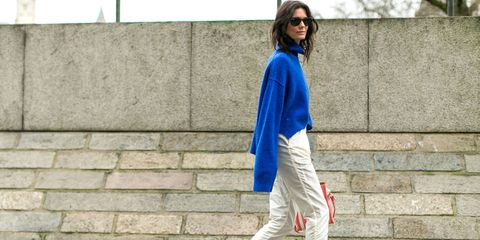 Clothing, Sleeve, Shoulder, Outerwear, Style, Bag, Street fashion, Sunglasses, Electric blue, Fashion,
