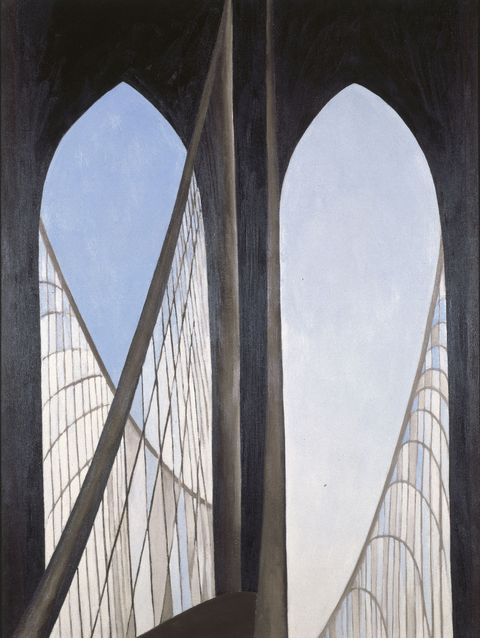 "<p>Georgia O'Keeffe (American&nbsp;1887-1986). <em data-redactor-tag=""em"" data-verified=""redactor"">Brooklyn Bridge</em>, 1949. Oil on Masonite, 48 x 35 7/8 in. (121.8 x 91.1 cm). Brooklyn Museum; Bequest of Mary Childs Draper, 77.11. (Photo: Brooklyn Museum)&nbsp;</p>"