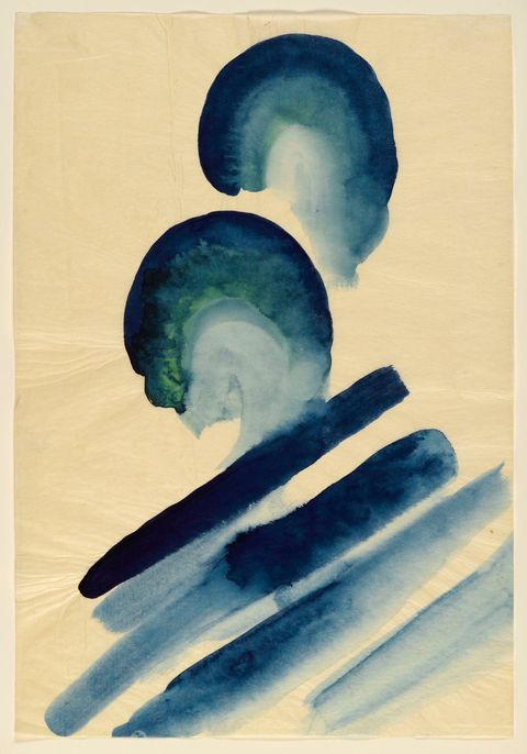 "<p>Georgia O'Keeffe (American 1887-1986).<em data-redactor-tag=""em"" data-verified=""redactor""> Blue #2</em>, 1916. Watercolor on paper, 15 7/8 x 11 in. (40.3 x 27.8 cm). Brooklyn Museum; Bequest of Mary T. Cockcroft, by exchange, 58.74. ( Photo: Sarah DeSantis, Brooklyn Museum)&nbsp;</p>"