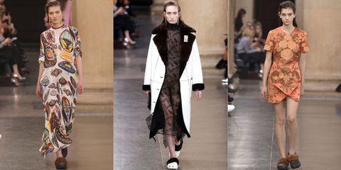Clothing, Footwear, Fashion show, Outerwear, Pattern, Style, Runway, Fashion model, Street fashion, Fashion,