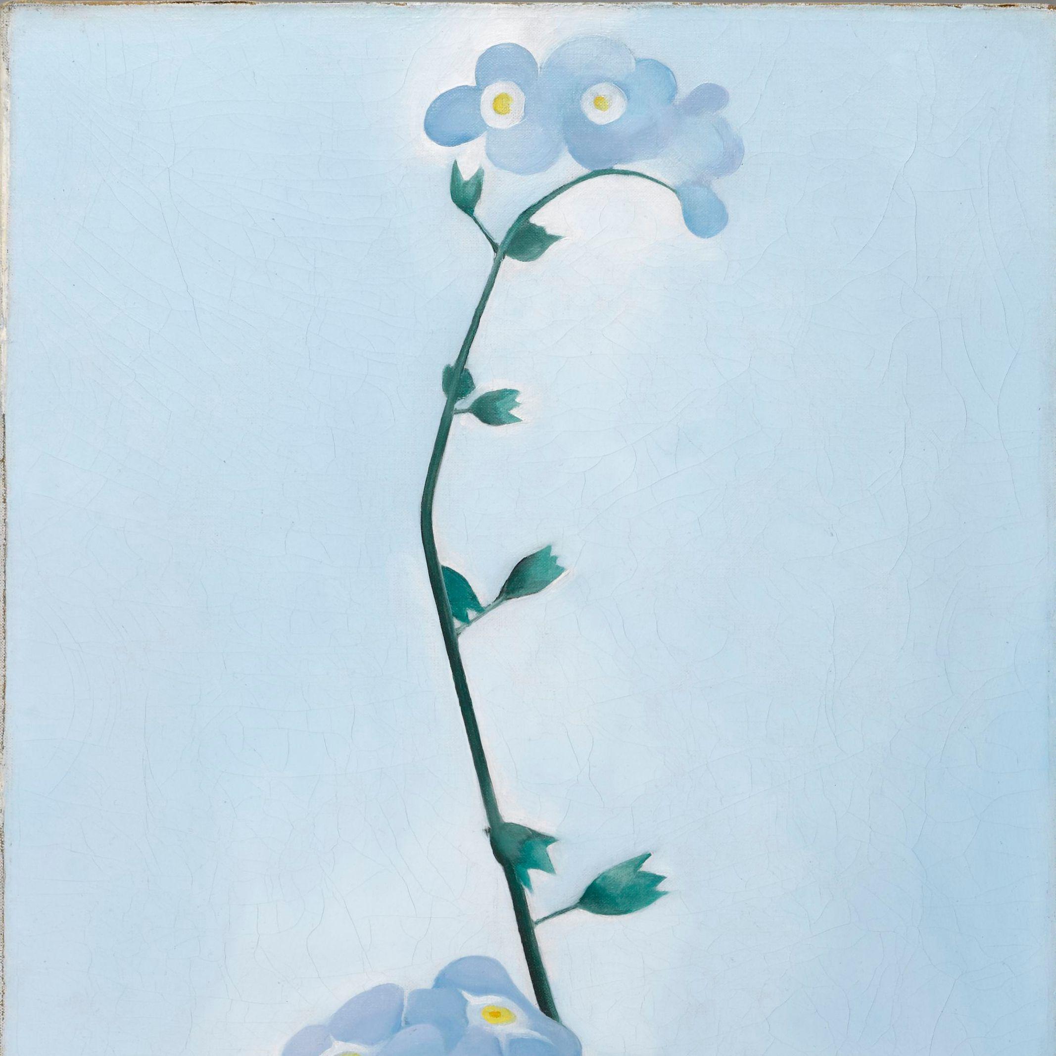 "<p>Georgia O'Keeffe (American, 1887-1986). <em data-redactor-tag=""em"" data-verified=""redactor"">Black Pansy &amp&#x3B; Forget Me-Nots (Pansy)</em>, 1926. Oil on canvas, 27 1/8 x 12 1/4 in. (68.9 x 31.1 cm). Brooklyn Museum&#x3B; Gift of Mrs. Alfred S. Rossin, 28.521. (Photo: Christine Gant, Brooklyn Museum).&nbsp&#x3B;</p>"