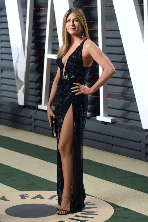 Jennifer Aniston Black Versace Slit Dress Oscars 2017