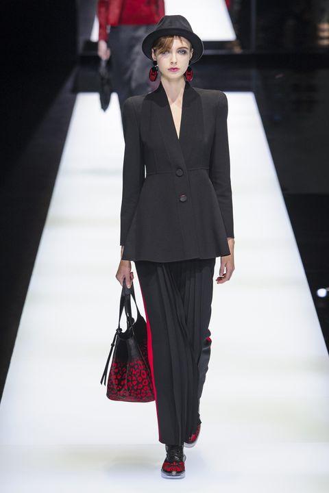Clothing, Sleeve, Fashion show, Outerwear, Hat, Runway, Formal wear, Style, Fashion model, Street fashion,