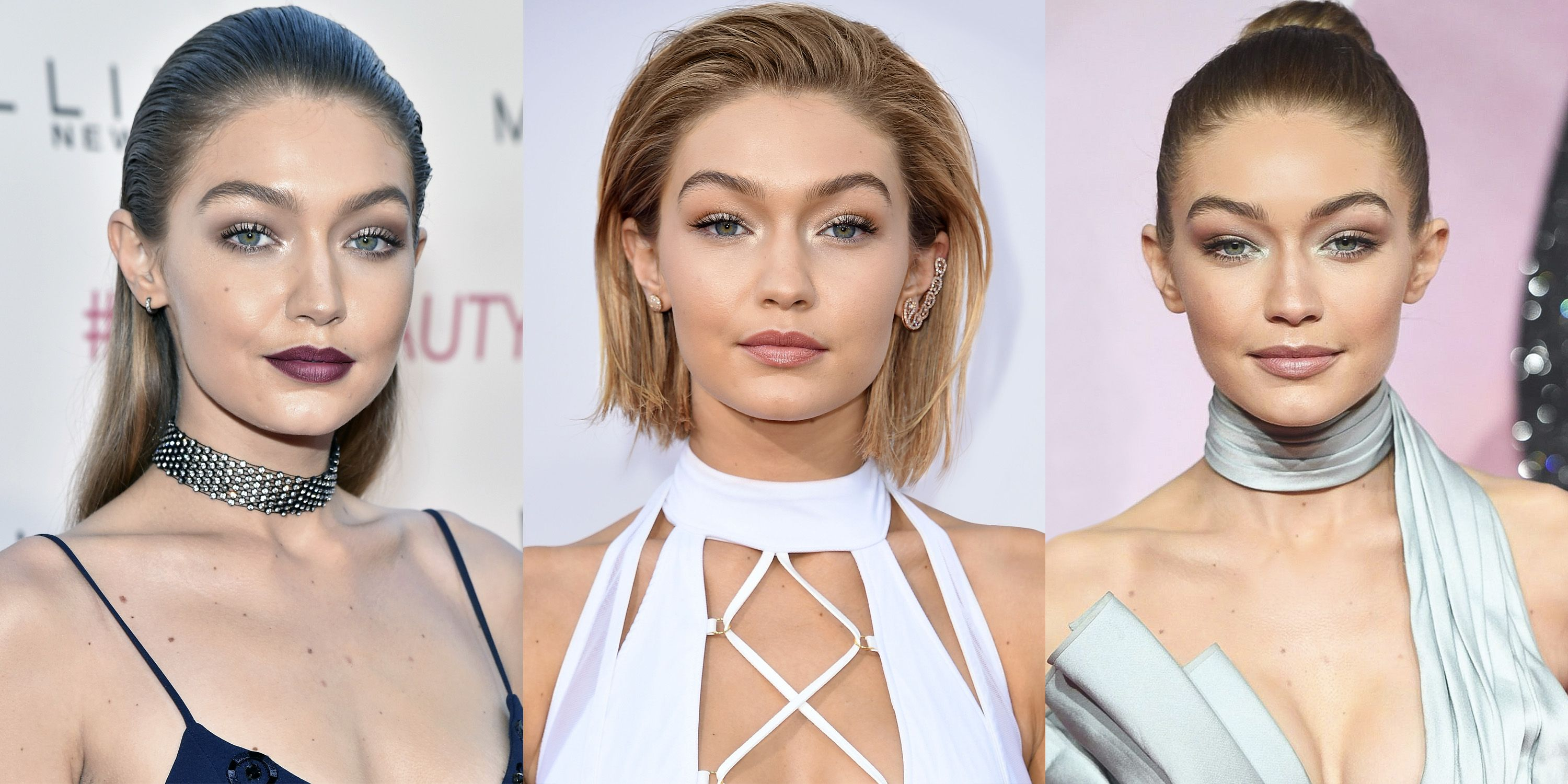 "<p>Hadid's evening makeup is always impeccably polished and varies from shimmering nudes to a more dramatic eye and lip.""Gigi likes to experiment with color,"" says Lee. ""She's very versatile."" A defined brow anchors all of the looks, though ""she doesn't like her brows overdrawn."" Standout lashes are clearly a must; Lee makes sure to use four coats of mascara. <span class=""redactor-invisible-space""></span></p>"