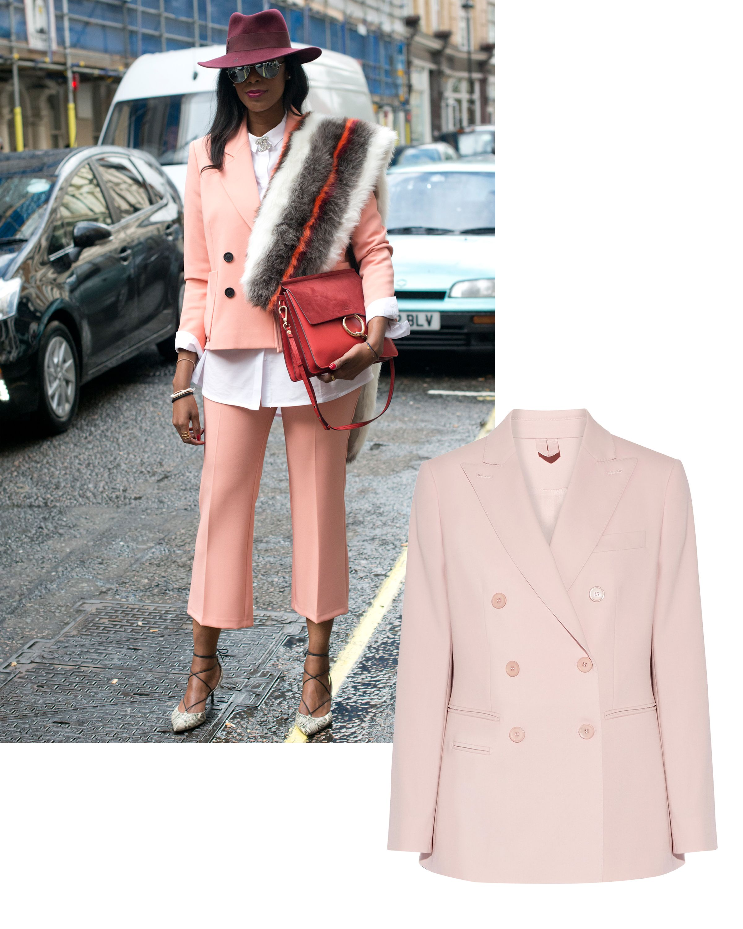 "<p>Pink is <em data-redactor-tag=""em"">the</em> color of the season, and peachy undertones offer a distinctly playful vibe. The soft hue and clean cut of this blazer are a fresh juxtaposition. </p><p><em data-redactor-tag=""em"">Max Mara blazer, <a href=""https://ad.doubleclick.net/ddm/clk/319401355;148059560;e"" target=""_blank"" data-tracking-id=""recirc-text-link"">NET-A-PORTER.com</a>.</em></p>"