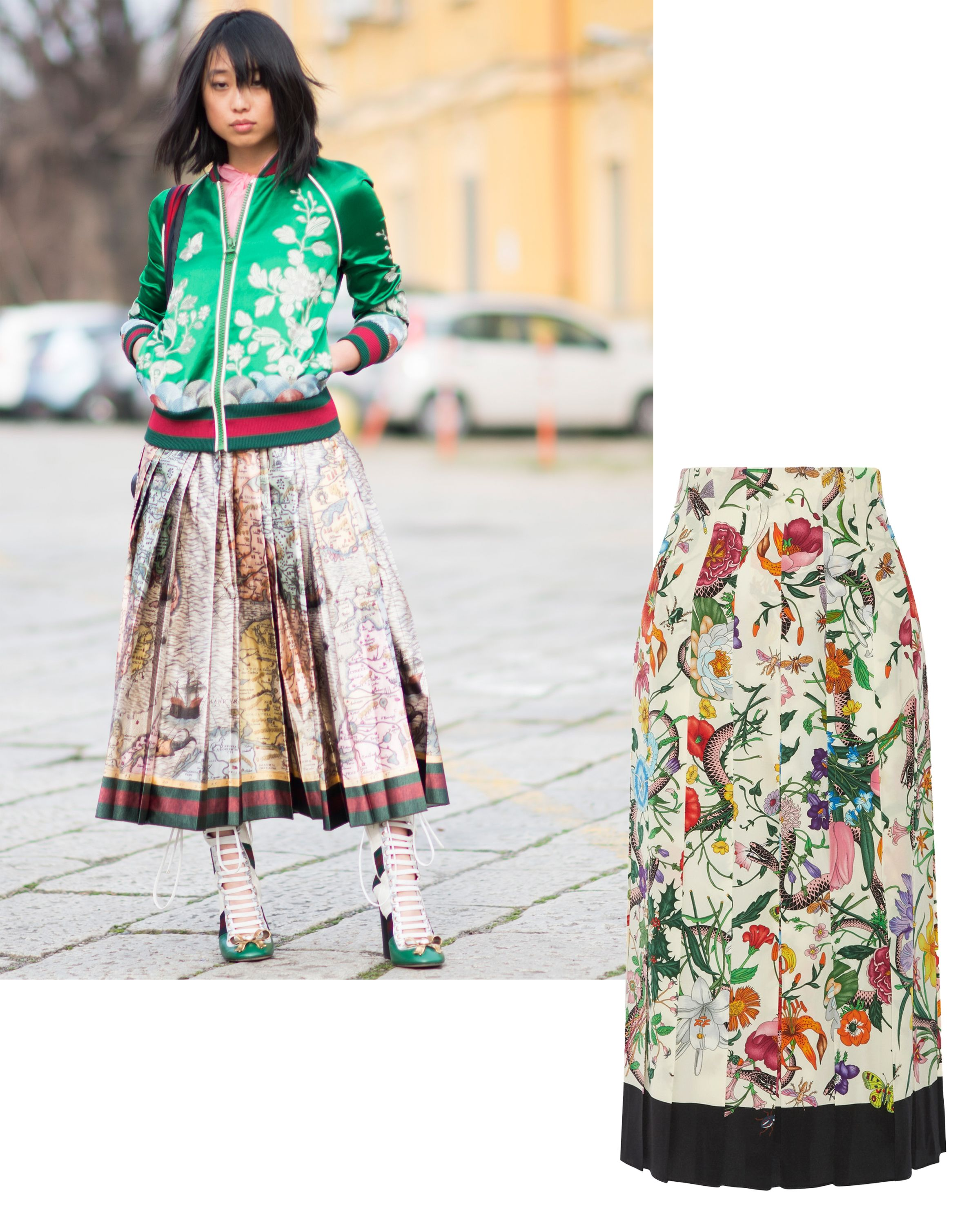 "<p>Floral patterns have been a hallmark of spring fashion forever, but they look particularly current—and office-appropriate—blooming onto structured silhouettes like an A-line midi skirt or bomber jacket in an eye-catching color. </p><p><em data-redactor-tag=""em"">Gucci skirt, <a href=""https://ad.doubleclick.net/ddm/clk/319401354;148059560;d"" target=""_blank"" data-tracking-id=""recirc-text-link"">NET-A-PORTER.com</a>.</em></p>"