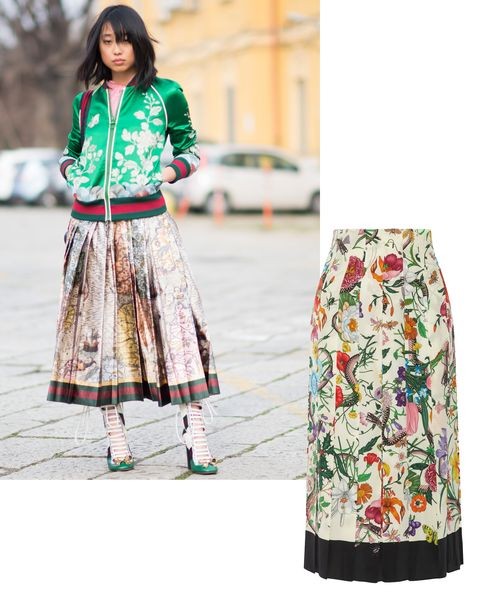"""<p>Floral patterns have been a hallmark of spring fashion forever, but they look particularly current—and office-appropriate—blooming onto structured silhouettes like an A-line midi skirt or bomber jacket in an eye-catching color. </p><p><em data-redactor-tag=""""em"""">Gucci skirt, <a href=""""https://ad.doubleclick.net/ddm/clk/319401354;148059560;d"""" target=""""_blank"""" data-tracking-id=""""recirc-text-link"""">NET-A-PORTER.com</a>.</em></p>"""