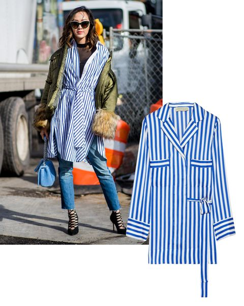 """<p><span class=""""redactor-invisible-space"""" data-verified=""""redactor"""" data-redactor-tag=""""span"""" data-redactor-class=""""redactor-invisible-space"""">A classic blue-and-white-striped button-down shirt is reborn with a longer hemline and a self-belt waist. Pair it with skinny pants and a standout heel for daytime elegance. </span> </p><p><em data-redactor-tag=""""em"""">By Malene Birger blouse, <a href=""""https://ad.doubleclick.net/ddm/clk/319405647;148059560;m"""" target=""""_blank"""" data-tracking-id=""""recirc-text-link"""">NET-A-PORTER.com</a>.</em></p>"""