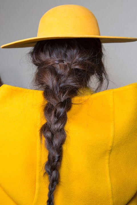 <p>A new take on hat hair, as seen at Alberta Ferretti's fall show. </p>