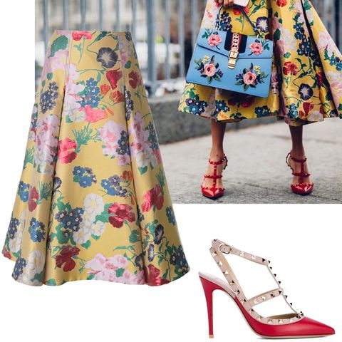 "<p>Va-va-Valentino.&nbsp;</p><p><em data-verified=""redactor"" data-redactor-tag=""em"">Valentino skirt, $3,950, <a href=""https://shop.harpersbazaar.com/designers/valentino/yellow-romantic-garden-brocade-skirt-11959.html"" data-tracking-id=""recirc-text-link"">ShopBAZAAR.com</a>; Valentino shoes, $995, <a href=""https://shop.harpersbazaar.com/designers/valentino/red-valentino-garavani-rockstud-pumps-12290.html"" data-tracking-id=""recirc-text-link"">ShopBAZAAR.com</a>.&nbsp;</em><br></p>"